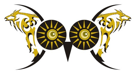 Freakish owl eyes. Fantastic big owl eyes in black and gold tones created by a tribal horse