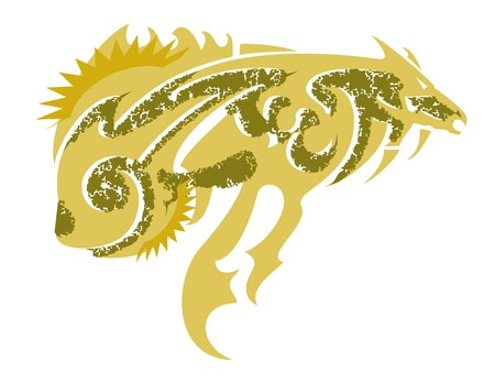 fish form: Freakish gold fish. Tribal abstract fantastic symbol in the form of fish in golden tones formed by a horse Illustration
