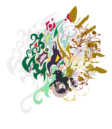 Grunge dragon head with floral elements. Tribal fantastic dragon head with gold wings and colorful splashes
