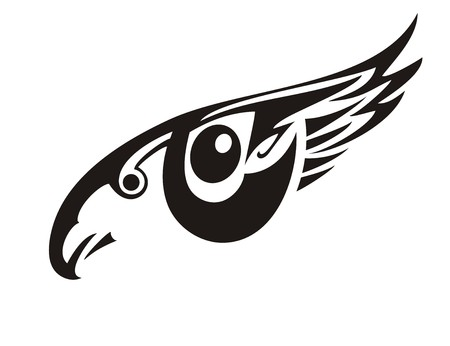 Stylized eye in the form of an eagle. Tribal fantastic eye symbol formed by the flying eagle