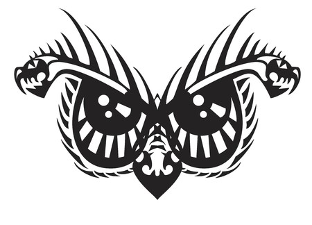 Scary owl eyes. Tribal awful eyes of an owl created by the head of an aggressive dragon