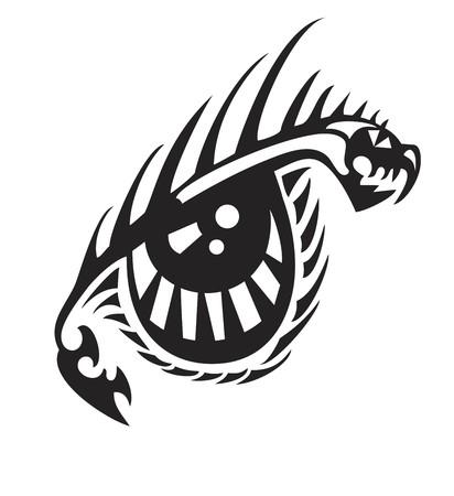 Tribal dragon eye. Fantastic terrible eye formed by an aggressive dragon Illustration