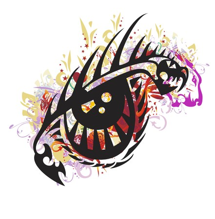 Grunge dragon eye. Colorful splashes in a terrible dragon eye with red hearts and asterisks Illustration