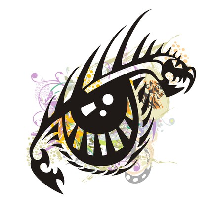 Dragon eye splashes. Tribal peaked symbol of an eye formed by the aggressive head of a dragon with floral splashes and a tiger element