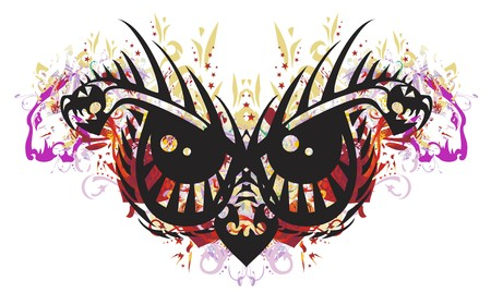 Grunge scary tribal owl eyes. Awful peaked owls eyes created by the heads of aggressive dragons with colorful floral splashes, red hearts, asterisks and lions elements