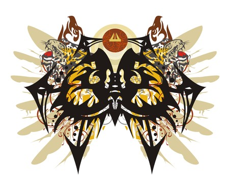 Unusual owl head symbol in grunge style. Eyes of an awful peaked owl with the arrows created with a leopard and an eagle head elements with colorful floral splashes and eagle feathers