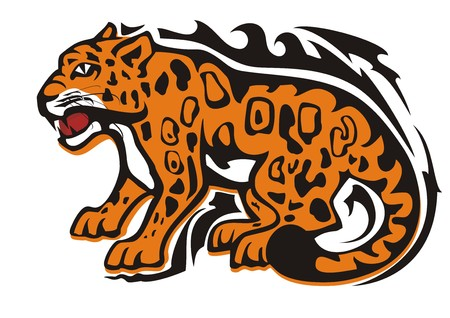 Tribal jaguar symbol. Aggressive sitting growling jaguar in orange-black tones isolated on white Illustration