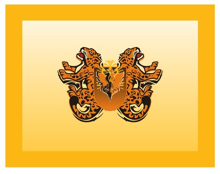 Medieval flag with growling jaguars and eagle shield