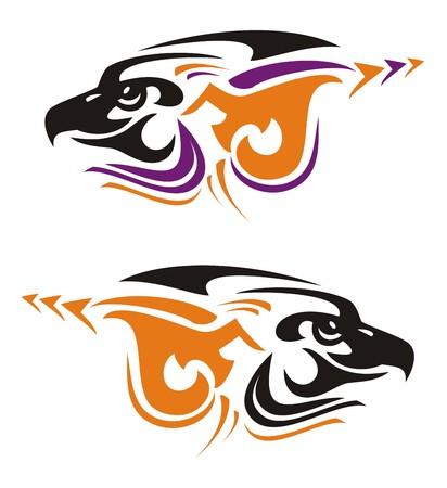 Two tribal eagle head symbols. Vector eagle icons in black-violet-orange tones