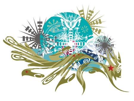 Abstract imaginary animal against blue cutting background. Imaginary twirled animal against grunge backdrop with ornate asterisks