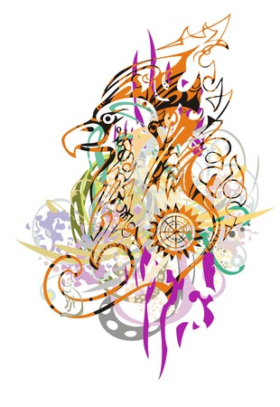 Colorful eagle splashes. The twirled floral elements in the head of an eagle in grunge style. Illustration