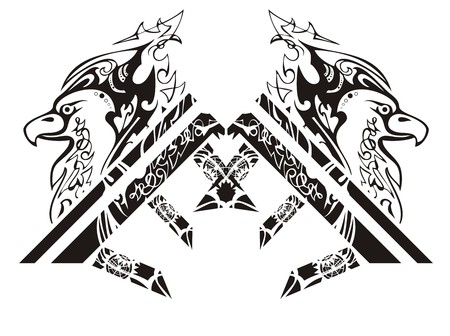 Eagle house concept. The decorative emblem of the renewal of the eagle and letters E Illustration