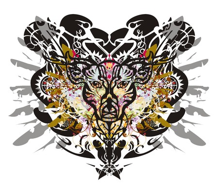 Grunge deer head against eagle backdrop. Tribal deer head of against the background of eagle textures with the twirled colorful floral elements