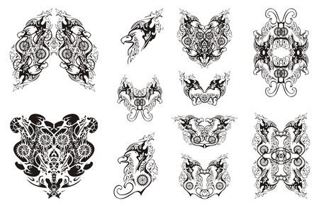 Ornate detailed twirled eagle symbols. Tribal set of linear eagle symbols for your design Illustration