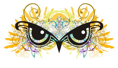 Owl eyes with floral elements splashes. Unusual owl eyes against eagle feathers in grunge style Illustration