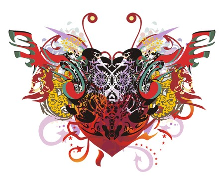 Grunge eagle symbol with red heart. Twirled detailed eagle heads in the form of heart with wings and colorful floral splashes for t-shirt design and another Illustration