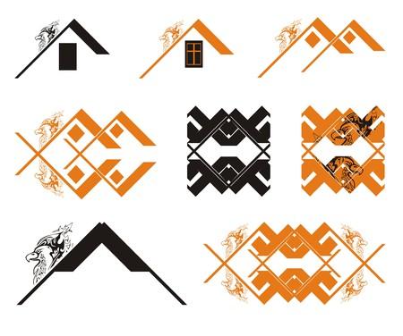 Black and orange eagle house concept. The decorative symbols of the black and orange eagle house concept. The decorative symbols of the renewal of the eagle Illustration