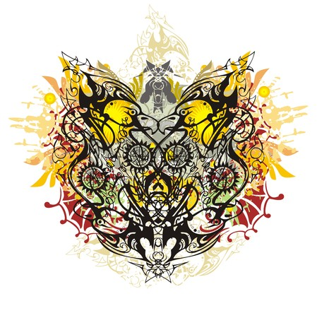 Grunge detailed two-headed eagle splashes. Tribal linear eagle heads against the background of colorful floral elements.