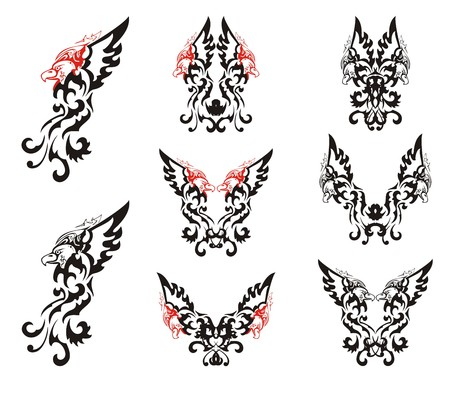 Black and red decorative eagle set. Eagle symbols with open wings for your design