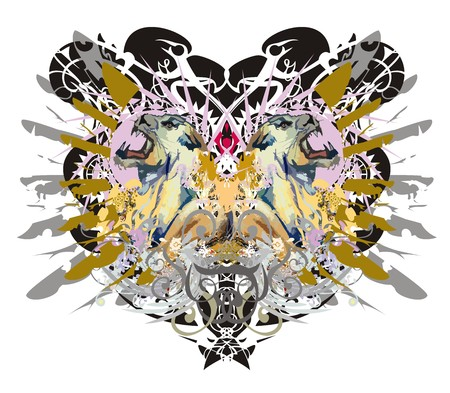 Grunge aggressive lioness heads against eagle backdrop. Tribal two lioness against the background of eagle textures with the twirled colorful floral elements and gold wings