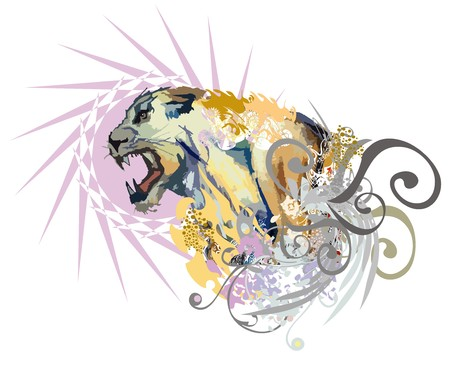 Aggressive colorful lioness splashes. Grunge lioness head against the background of a star with decorative elements