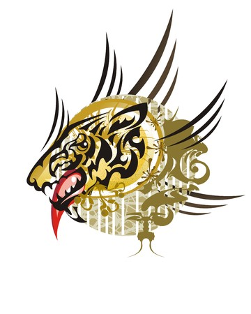 Wild animal textured symbol. Tribal unusual aggressive wolf head formed by the head of an eagle against colorful textured backdrop