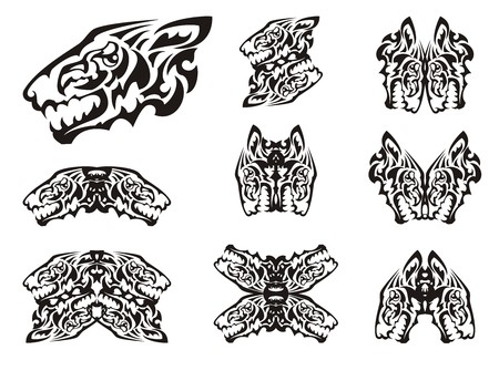 Wild animal symbols in tribal style. Unusual aggressive wolf head symbols formed by the head of an eagle. Black on white