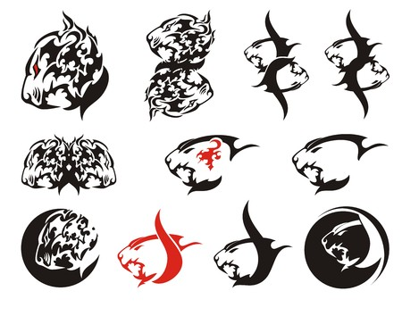 Aggressive tribal lion head symbols. Stylization of the lions head in the form of fire, lions tattoos and double lions symbols