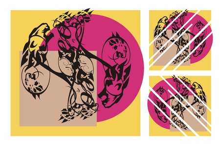 Leo elements composition. The twirled lines are formed by the growling lions heads on a color background. It is possible to use as a triptych or separately