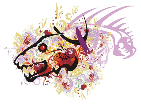 Grunge aggressive wolf head with red hearts. Colorful splashes in a terrible wolf head with red hearts, asterisks and dragon head