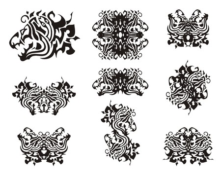 Tribal aggressive dragon head symbols. Dangerous dragon head with an open jaw formed by a snake and symbols from her for your design Illustration