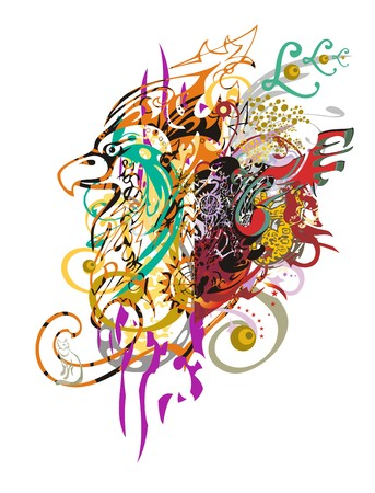 Grunge eagle head. Eagle splashes with an arrows, twirled ornate floral elements and colorful drops Illustration