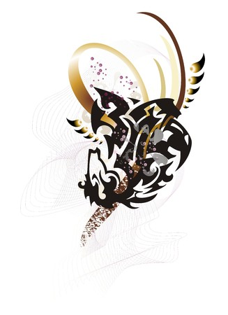 Abstract tribal eagle-horse symbol. Fantastic imaginary symbol created by the horse head and the head of the eagle with interactive overflowing and decorative elements