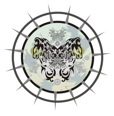 Tribal circle of a young dragon butterfly in the dog form. Grunge circle with a dragon butterfly against the background of a star Illustration