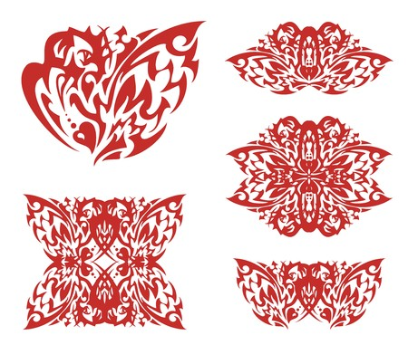 Flaming lion heart and symbols from it. Tribal decorative red heart formed by the aggressive lion head and an open wing of a bird, symbols from it for your design