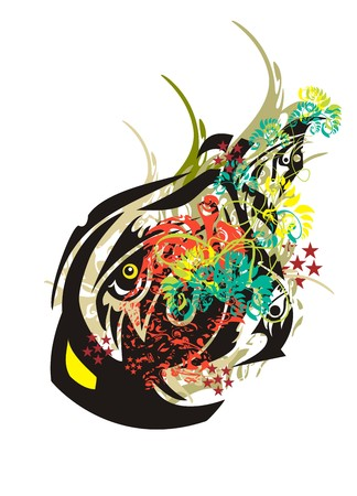 Colorful eagle splashes. Close up of the eagle head with a huge beak against the background of floral splashes, red asterisks and decorative elements in grunge style Illustration