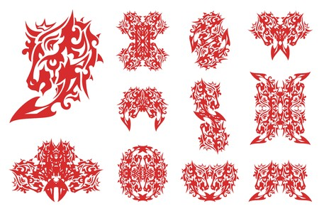 Flaming horse head set patterns. Decorative horse and the symbols are made of her in red-white tones for your design. Illustration