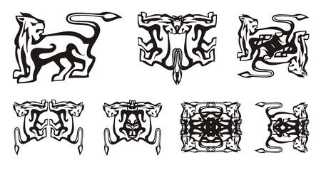 Tribal dog symbols. Decorative stylized dog symbols in the form of a lion, double dog symbols in black-and-white tones