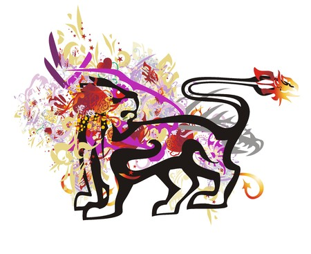 Grunge dog symbol. Colorful splashes in a dog with red hearts, asterisks, golden wings and other ornate elements Illustration
