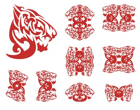 Flaming wolf symbols. Tribal aggressive wolf head created by the head of an eagle and decorative double symbols of a wolf from it Illustration