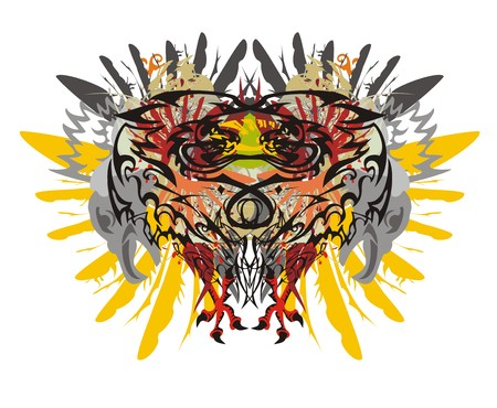 Tropical motives splashes. Grunge dragon heads twirled in the form of heart against the background of eagle wings and the heads of an eagle with the legs