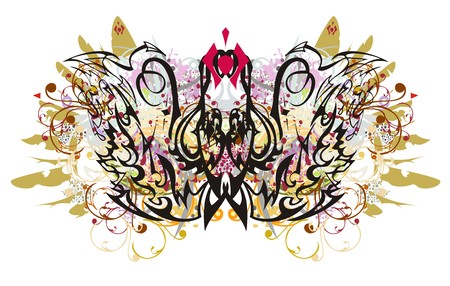 Colorful linear ornate butterfly splashes. Butterfly with floral elements and gold wings