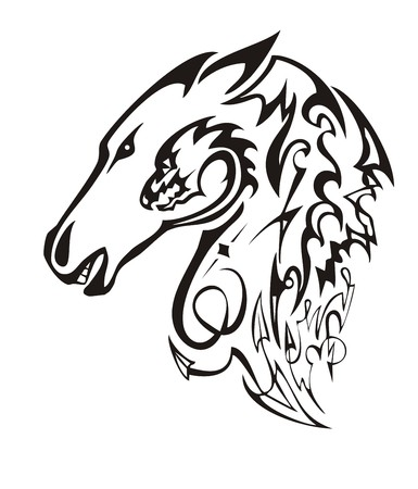 Linear ornate horse head. Tribal mustang head with the twirled dragon head in the ready for t-shirt design, tattoos and other Illustration