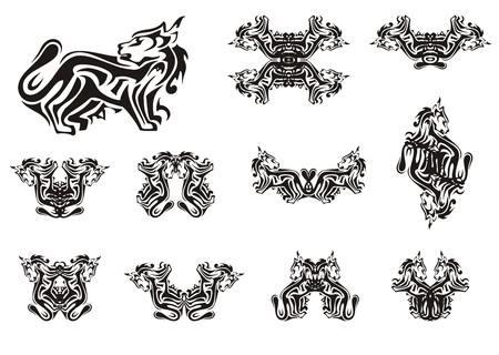 Decorative cat symbols. Silhouette of the stylized black cat and the double symbols of a cat formed from it