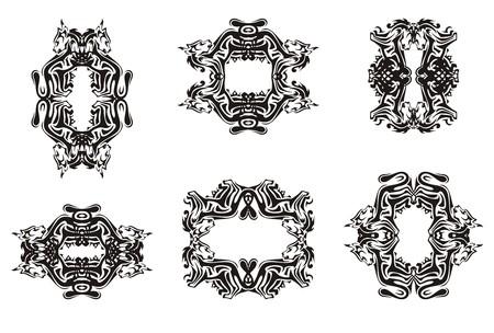 Decorative cat frames. Tribal set of the frames formed by a black cat for your design Illustration