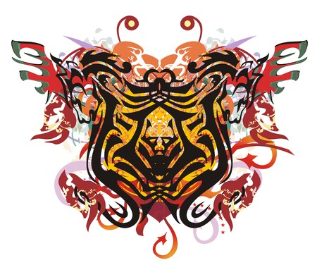 Grunge stylized lion butterfly splashes. Tribal stylized lions in the form of a butterfly against the background of linear eagle splashes, red wings and arrows, the twirled decorative elements