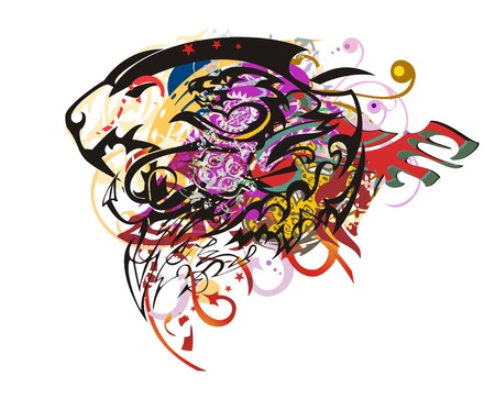 Grunge lion head colorful splashes. Aggressive roaring lion head with dragon head inside against the background with red arrows and wing, the twirled decorative elements
