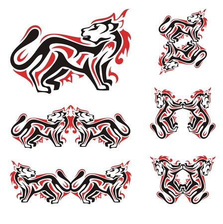 Cat symbols in red and black tones. Silhouette of the stylized cat and the double symbols of a cat formed from it, ready for a tattoos, vinyl cutting and other