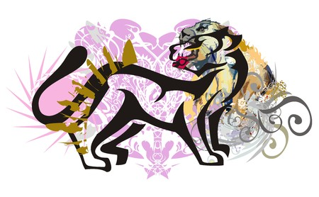 Grunge cat splashes. Silhouette of a cat against the background of the lioness head, linear eagle patterns and decorative elements