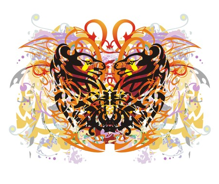 Grunge colorful floral butterfly splashes. Fantastic butterfly against the background of linear patterns and decorative elements with red arrows